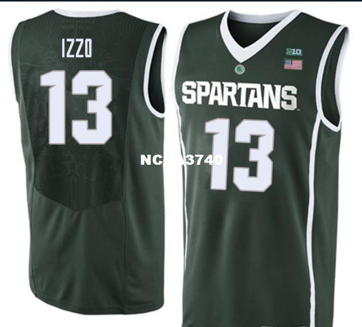 Özel Erkekler Michigan State Spartans Steven Izzo # 13 Yeşil Tam nakış basketbol forması Boyut veya özel herhangi bir ad veya numara formayı-4XL S