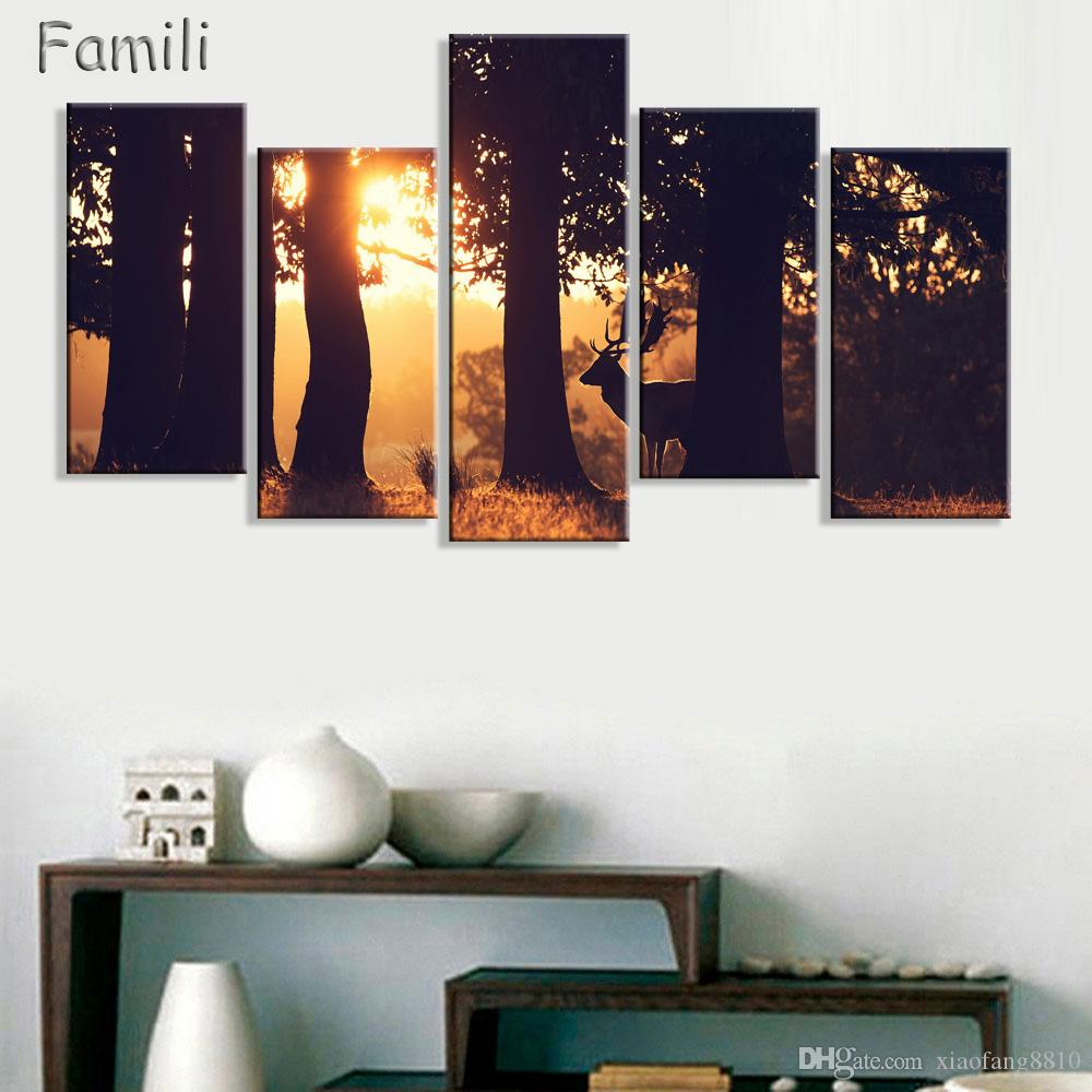 5panels large poster HD printed oil painting grassland deer canvas print art home decor wall art pictures for living room