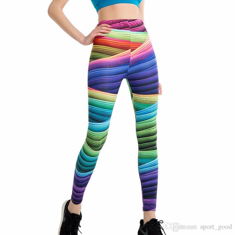 Gradient Rainbow Print Women Workout Leggings High Waist Stripe Push Up Hips Fitness Yoga Pants Female Sporting Pencil Pants
