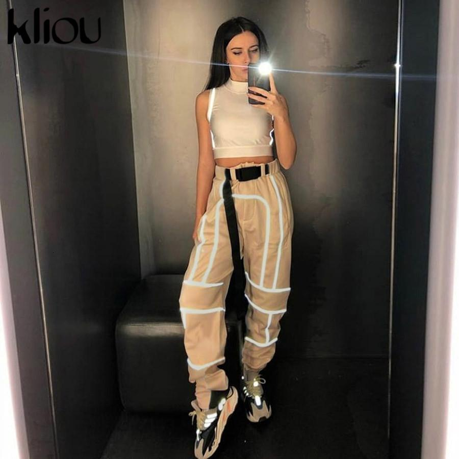 Kliou women fashion street Reflective patchwork cargo pants 2019 new arrival zipper fly with sashes pockets knitted trousers CJ191203