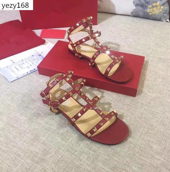 -Alta qualità di modo nero bianco rivetta scarpe da sposa di alta qualità sandalo signore sexy Sandalssize 42