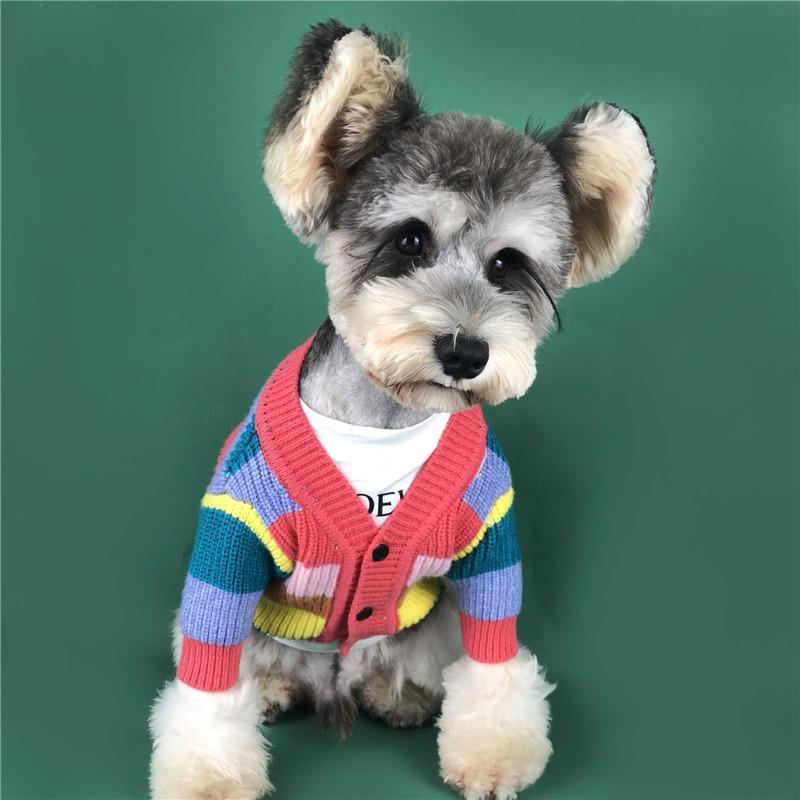 Pet Datum Pullover Regenbogen-gestreifte Mäntel für Hund Teddy Welpen Bulldog Bekleidung Herbst-Winter-Mode Warm Sweatshirts