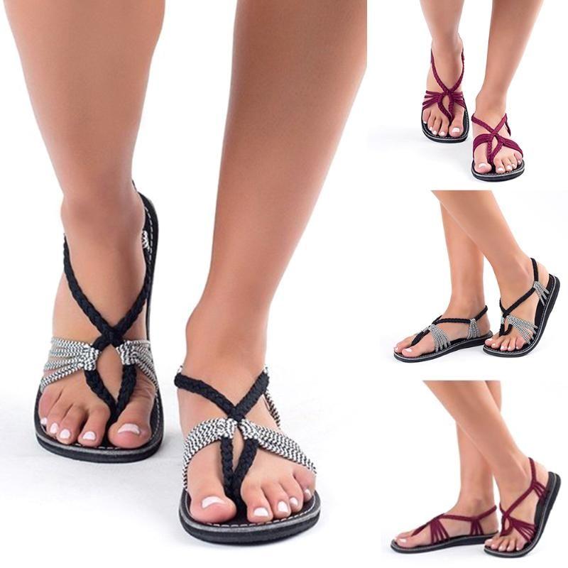 Femmes Occasionnels plage Gladiator ouvert Toe été cheville Bracelet Noeud Tressé Lacet Loisirs Mode Chaussures à fond plat