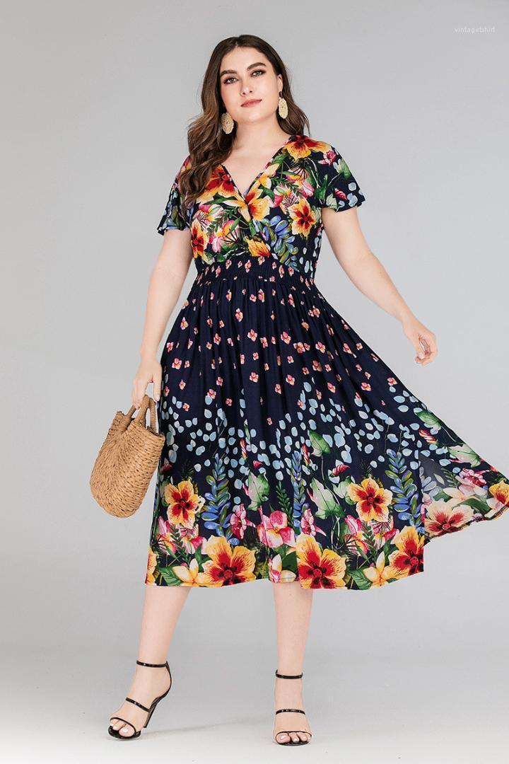Imprimé floral Robes d'été en vrac Fashion Slim col en V manches courtes Femme Vêtements 2020 Femmes Designer