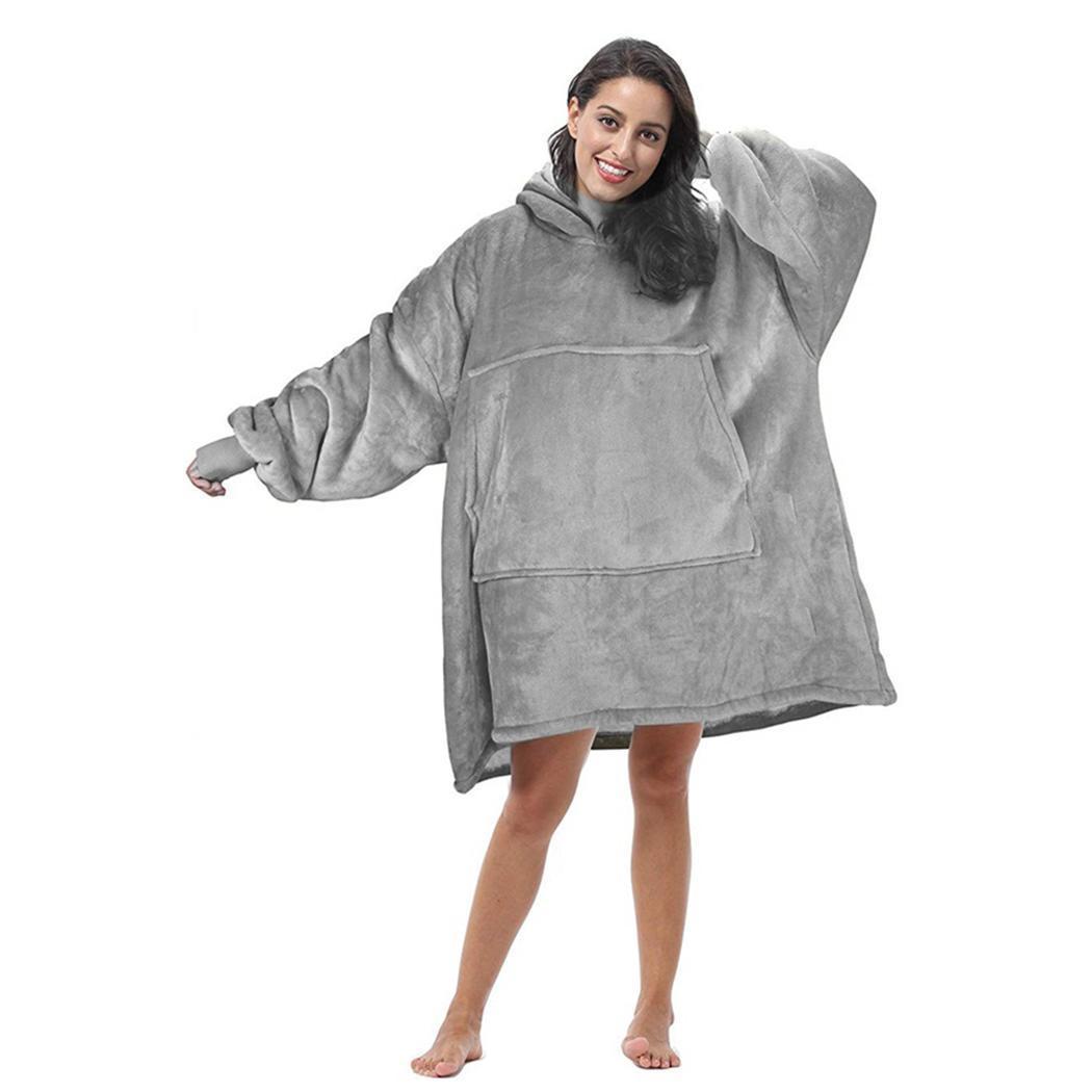 المرأة مقنعين طويلة الأكمام هوديس سميكة دافئة عارضة الخريف الشتاء فضفاض الصلبة بطانية البلوز البلوز جيوب