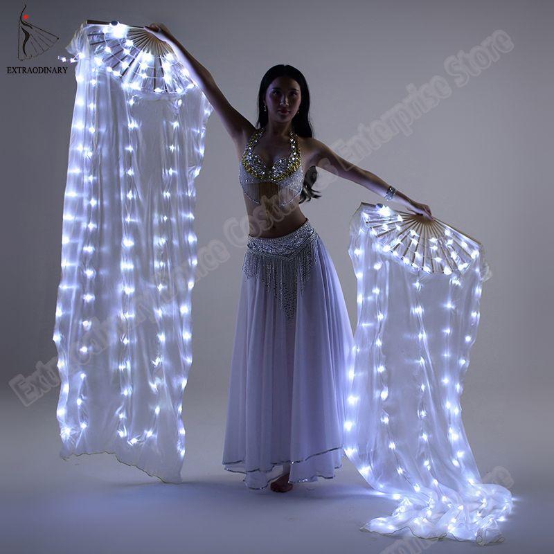 Neue Bauchtanz Seide Fan Veil LED Fans leuchten Shiny Plissee Karneval LED Fans Bühne Leistung Requisiten Zubehör Kostüm