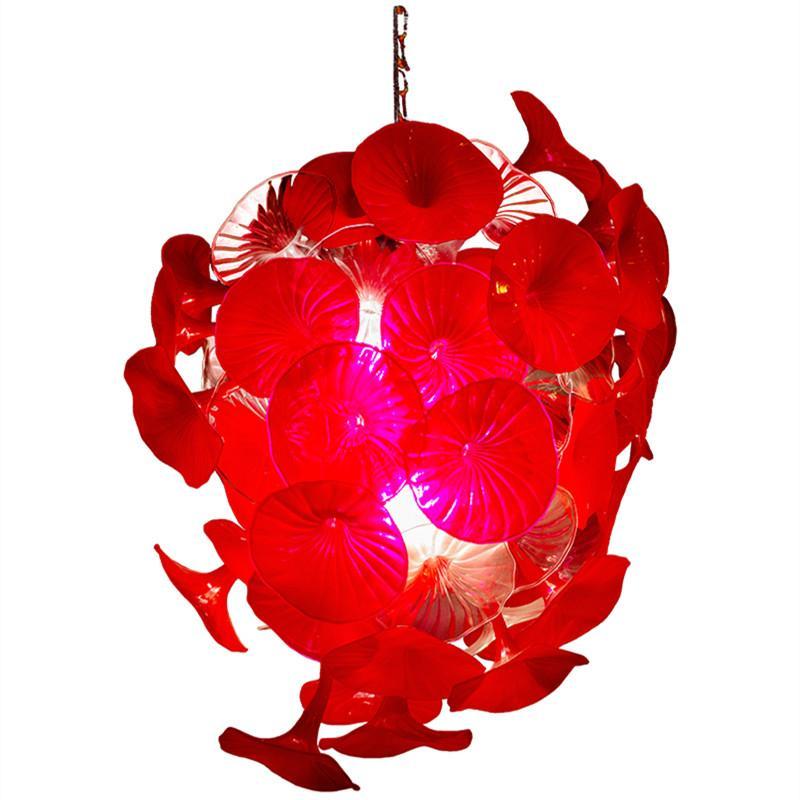 Moderno decorativo de la flor de cristal colgante de iluminación Red Shade boda Lámparas soplado a mano lámpara de cristal para la decoración de Navidad