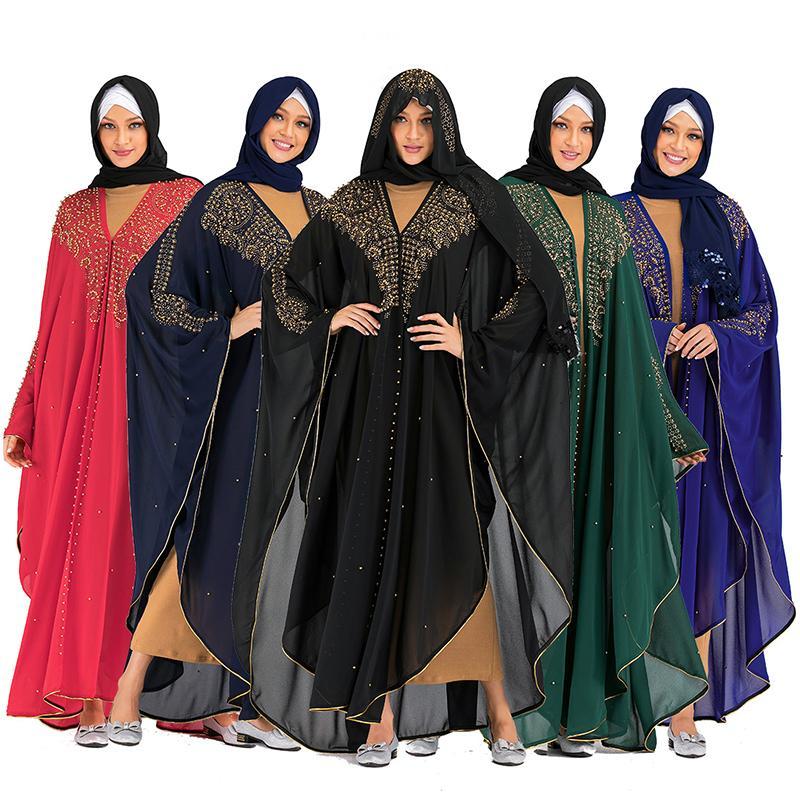 Siskakia Khimar Muslim Jilbab Dubaï Arabai Abaya Kimono Vêtements islamiques pour femmes Mode Strass Beads Kaftans Jubah Nouveau