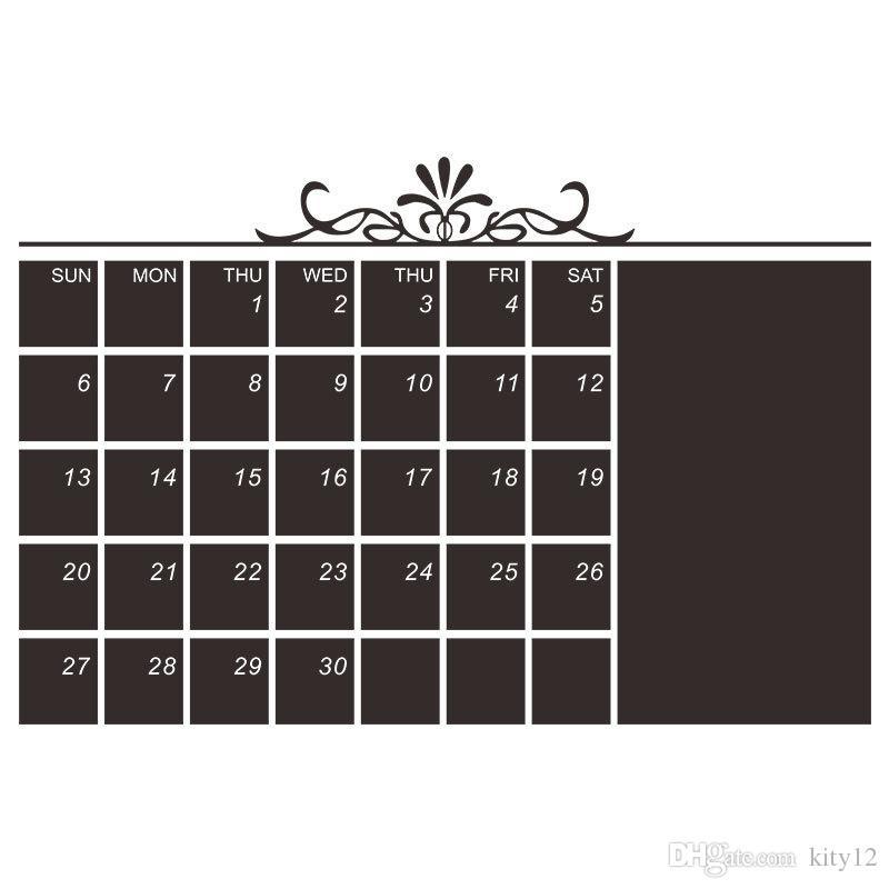 New flower vine Blackboard Wall Stickers Monthly Plan Calendar Chalkboard Wallpaper Office & School Supplies Free Shipping