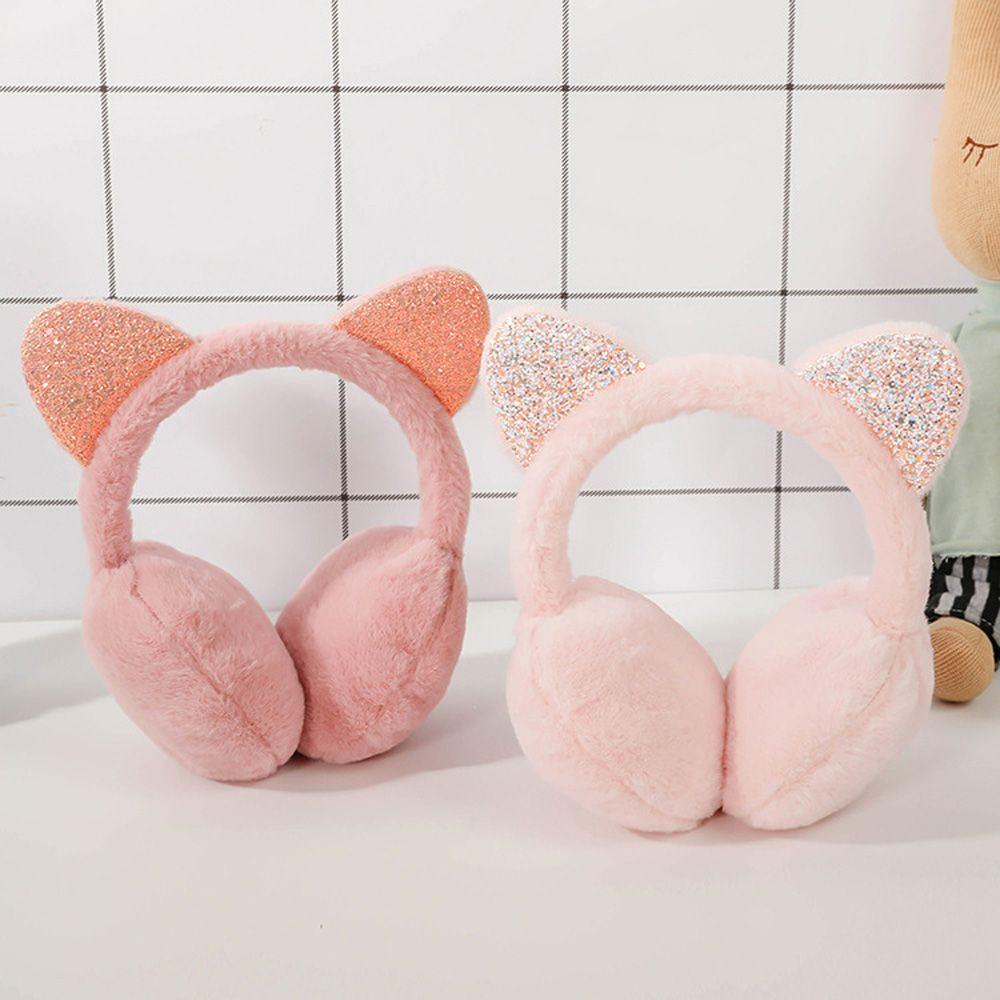 Fashion Unisex Vintage Ear-cap Winter Outdoor Cute Cat Plush Earmuffs Shiny Soft Earflaps Headband for Kids Boys Girl
