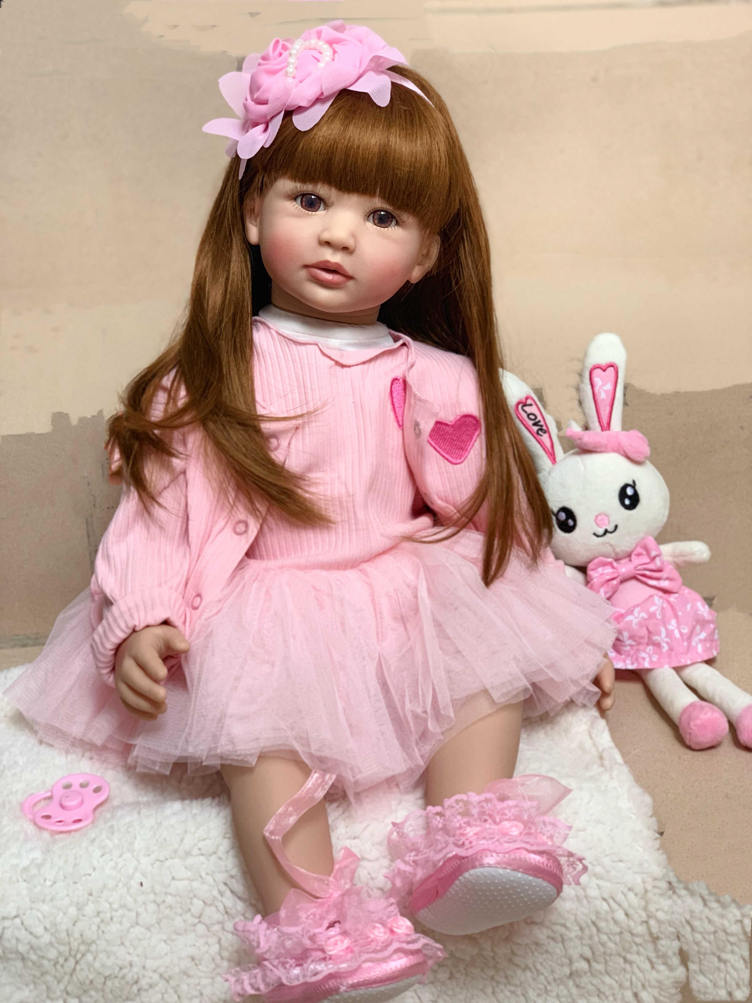 "18/"" Reborn Toddler Vinyl Doll Girl Lifelike Princess Long Hair Cute Baby Gifts"
