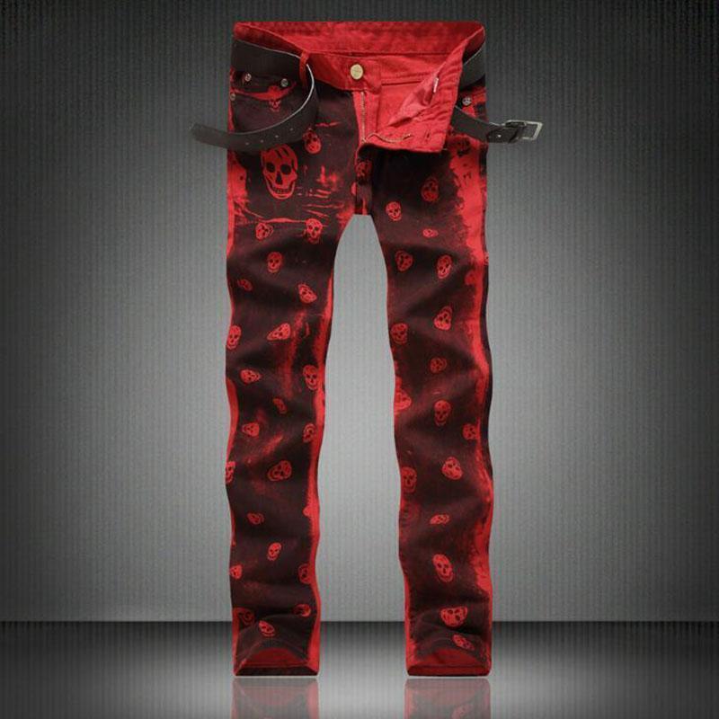 Moda Kafatası Baskılı Jeans Erkekler Rasgele İnce Düz Jeans Tasarımcı Kırmızı Pantolon Erkek Marka Baskı Pantolon Jeans için