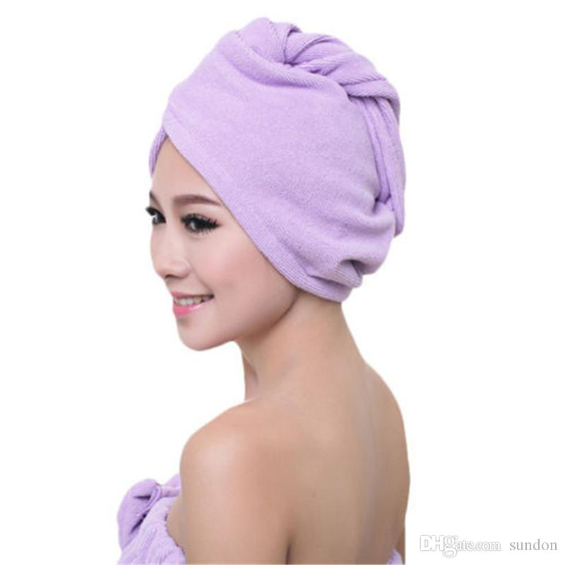 2019 Mikrofaser Nach Dusche Trocknen der Haare Wrap Frauen-Mädchen-Dame Tuch-schnelle trockenen Haar-Hut-Kappe Turban-Kopf-Verpackungs-Bade Werkzeuge ST039