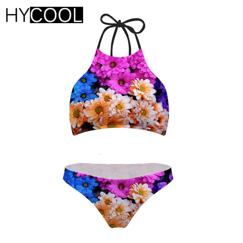 HYCOOL Bikini 2020 Badeanzug für Frauen Blumendrucke Bademode Harajukus Art-Frauen-Badeanzug-XXL