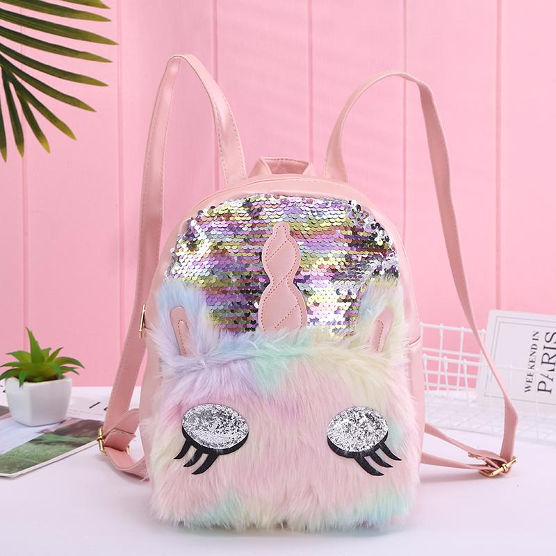 Hot Kids Womens Girls Cute Unicorn Sequin Fluffy Backpack School Bag Handbag Hot