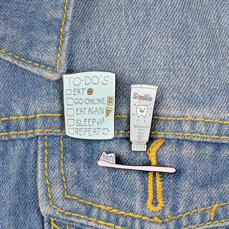 Adatti ad annata Spazzolino metallo Kawaii smalto Pin Badge Bottoni Spilla shirt Giacca di jeans Bag Spille decorativi per le donne Ragazze