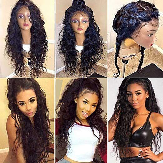 cabello humano ondulado natural pelucas pre arrancó rayita natural extremos completos peluca frontal 360 de encaje ondulado mojado densidad 150%