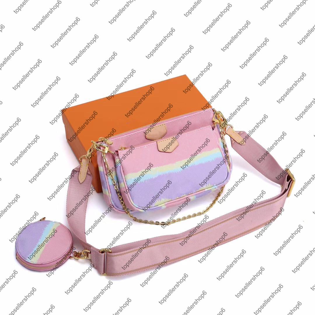 M44823 Tie Dye MULTI Pochette ACCESSOIRES Круглый Портмоне холстины женщин Природные коровьей кожаная мини-3шт костюм бумажника плеча сумки