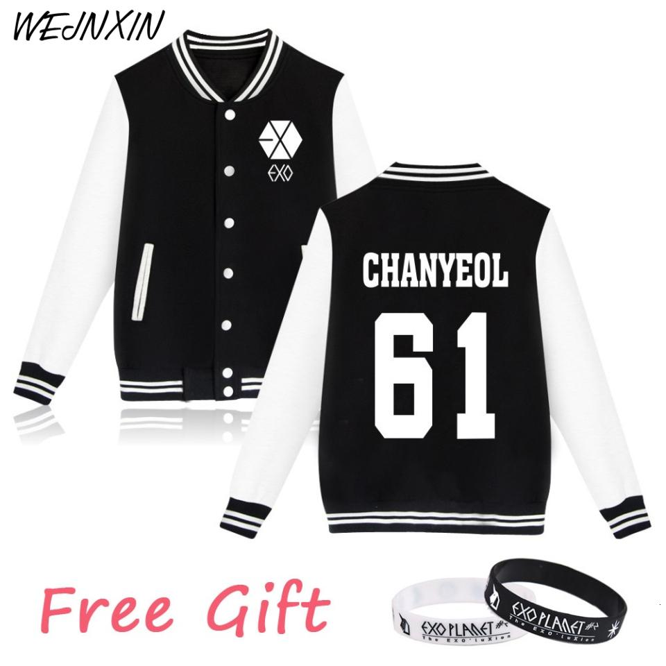 WEJNXIN EXO Kpop Hoodies Women Men Casual Unisex Fans Supportive Baseball Jacket Member Name Couple Exo Clothes Free GiftMX191008