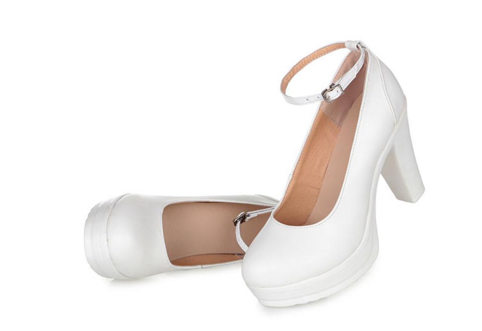 2020 весна и осень с новым стилем мода высокий каблук грубый каблук круглая голова водонепроницаемый стол Женская обувь@MQWBH727