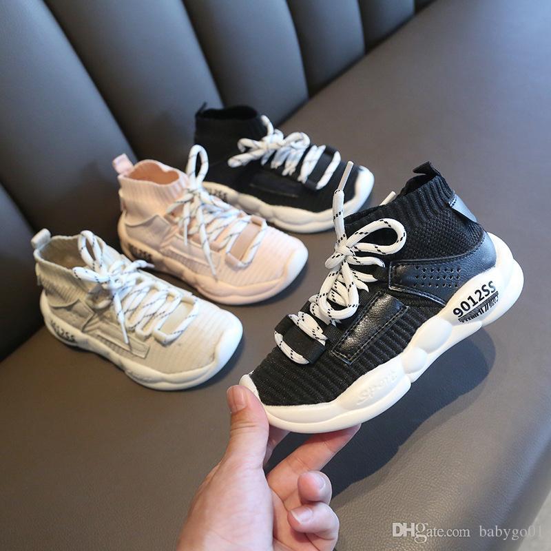 Chaussures pour enfants occasionnels filles espadrille pour garçons Chaussures de course Casual Outdoor Anti-Glissant en tricot pour enfants Chaussettes Sneaker Shoe