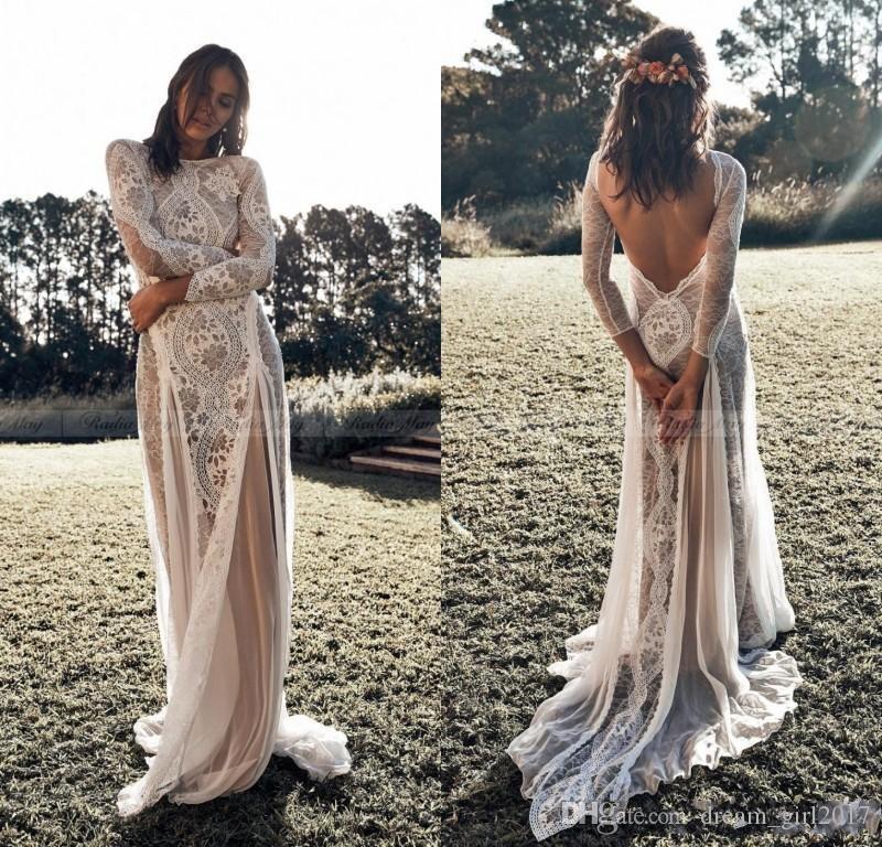 Vintage Lace Backless Boho Пляж Свадебные платья с длинным рукавом Nude Подкладка Страна Bohemian Свадебные платья Хиппи Цыганская платье невесты