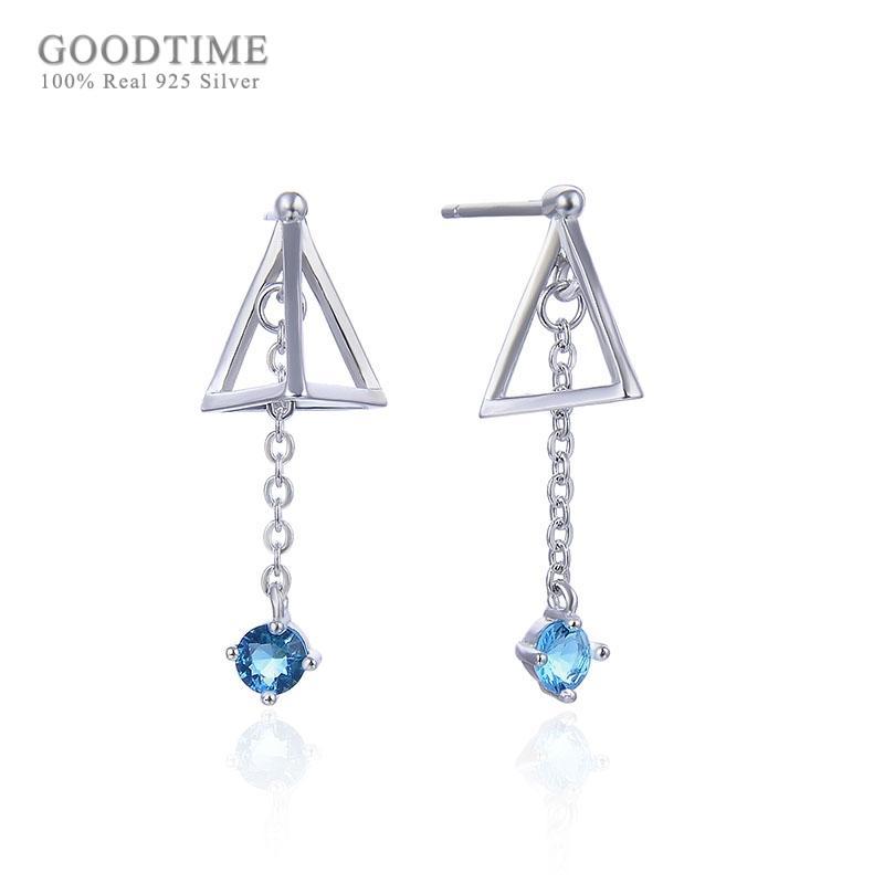 Orecchini alla moda da donna in argento sterling 925 con triangolo in zircone blu, orecchini in argento per ragazza vestire