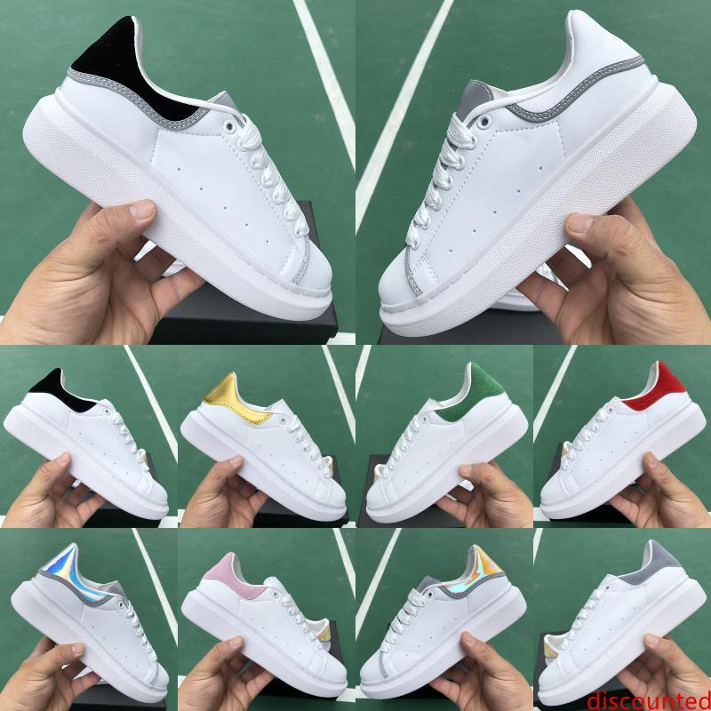 Luxe Plate-forme Chaussures Designer Blanc réfléchissant Triple velours noir d'or des femmes des hommes Casual Party Chaussures mode vestimentaire Chaussures en cuir