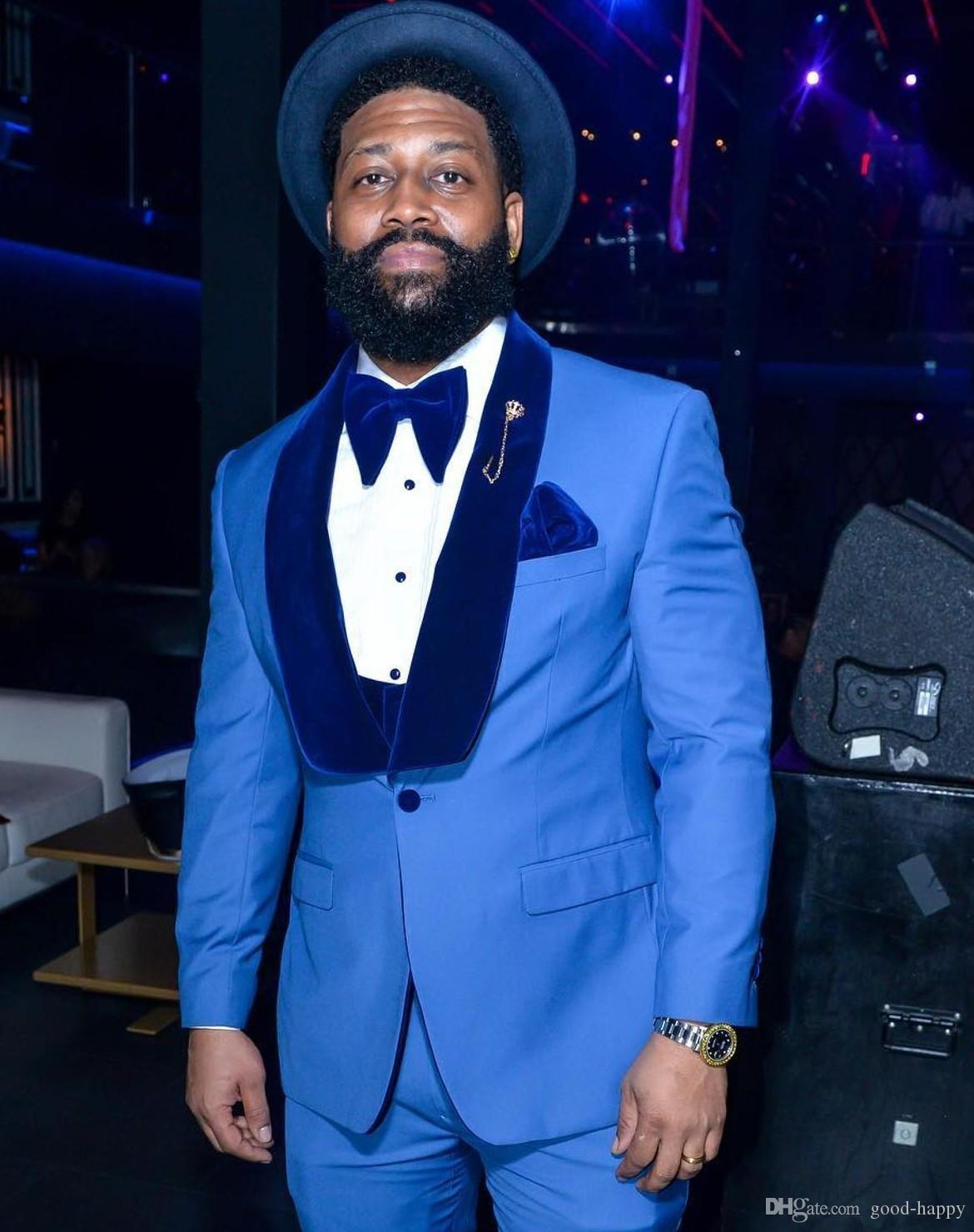 Chaqueta azul real de los smokinges del novio del padrino de boda del mantón de la solapa de 3 piezas de juego de la manera de los hombres de negocios Prom Party (Blazer Jacket + Pants + Tie + Vest) 2651