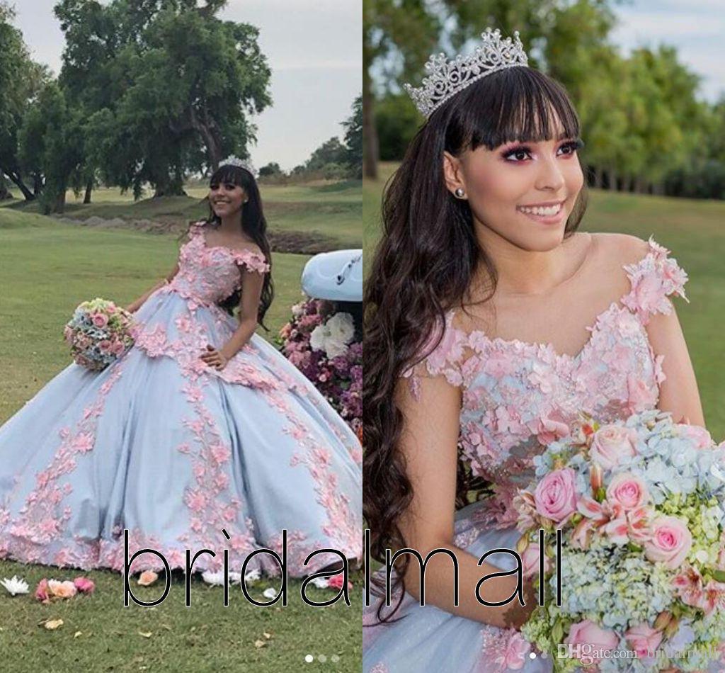 فستان حفلة عيد ميلاد جديد أزرق ووردي مع زهور مصنوعة يدويا من ملابس حفلة رسمية على الكتف
