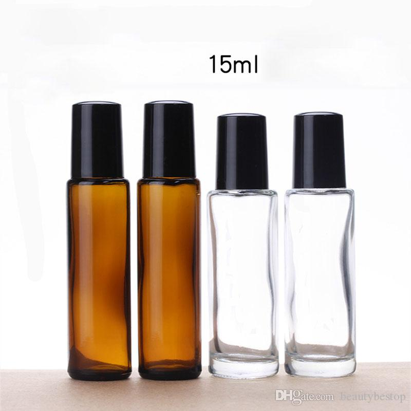 Top Selling Amber Clear 15ml Glass Roller Bottles For Essential Oils Refillable Roll On Bottles With Metal Roller Ball 600pcs/lot