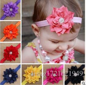 Neue europäische und amerikanische kinder kopf blume baby kopfschmuck doppelschicht lotusblatt strass baby haarband 13 farben