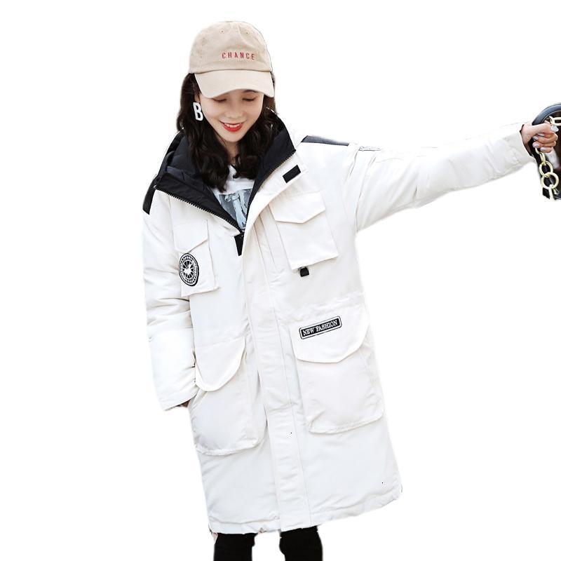 2019 Винер длинный пуховик Женщины Женщины с капюшоном вниз Parka с стоячим воротником хлопок Теплый проложенный осень Outwear T191030