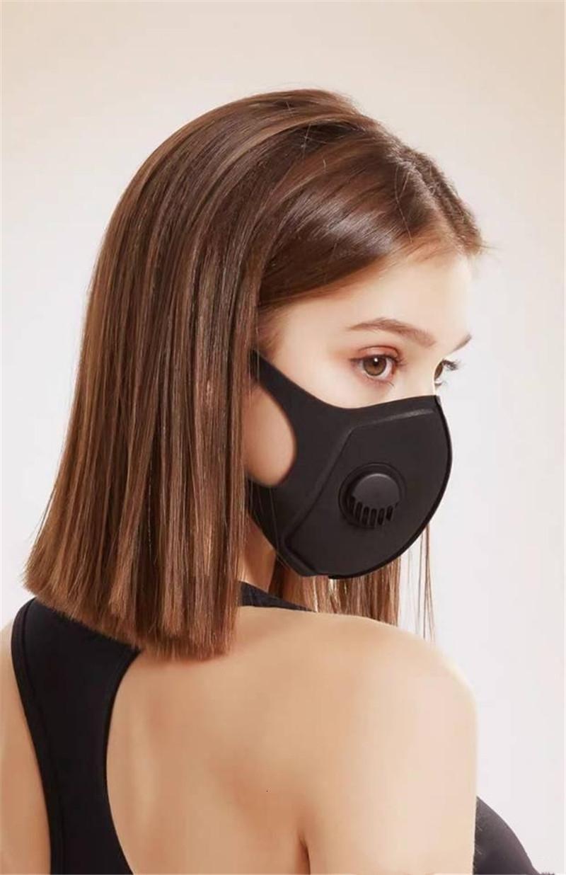 Nave libre de DHL! Lavable Esponja Boca cálido aliento Negro algodón de la válvula a prueba de polvo PM2,5 colágeno Mascarilla Mascarilla Anti polución y reutilizable