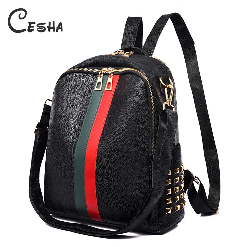 Fashion Striped Design Backpack Female High Quality Waterproof Pu Leather School Backpack Large Capacity Women Travel Backpacks Y19051405