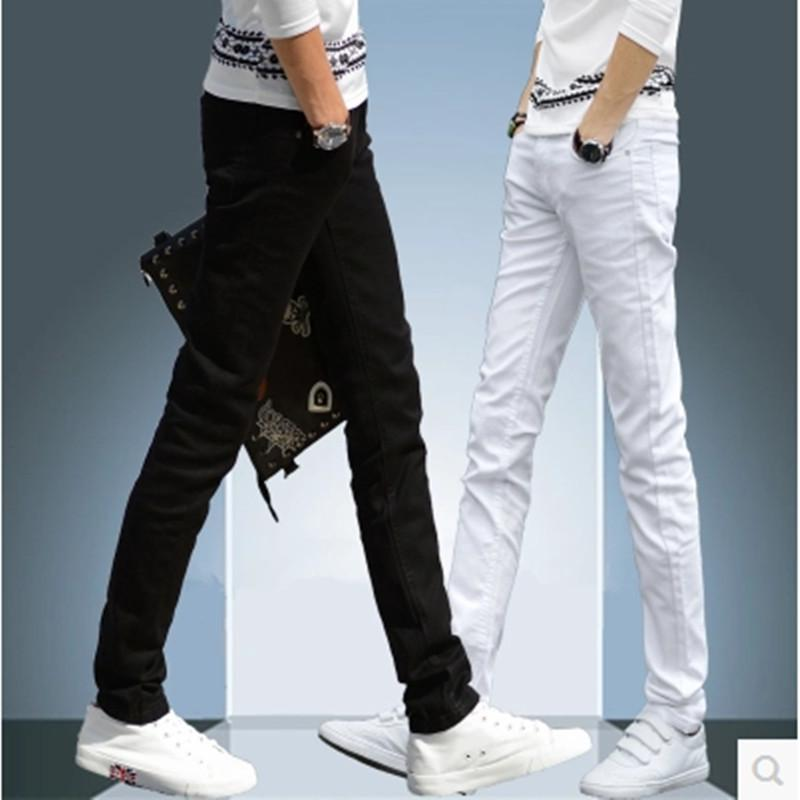 wholesale 2020 fashion Business Men's Pure Black and White Jeans Thin Slim Straight Slim Youth Students Casual pencil Trousers