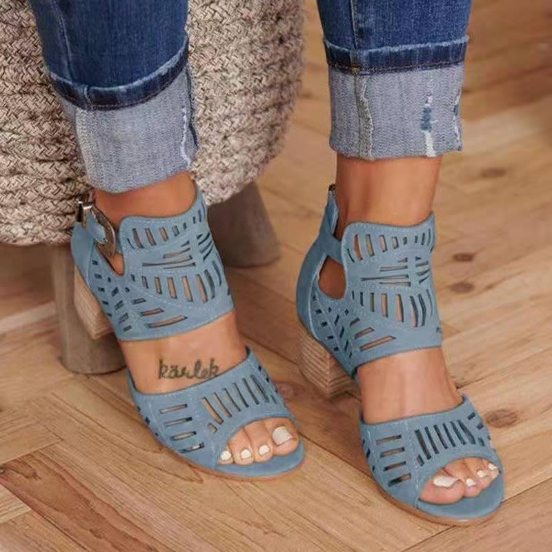 Femmes Sandales talon haut Gladiator Boucle Bracelet Chaussures Mode Femme Sandalias Mujer 2020 Summer Ladies Sandales Taille Plus 35-43 Y200326