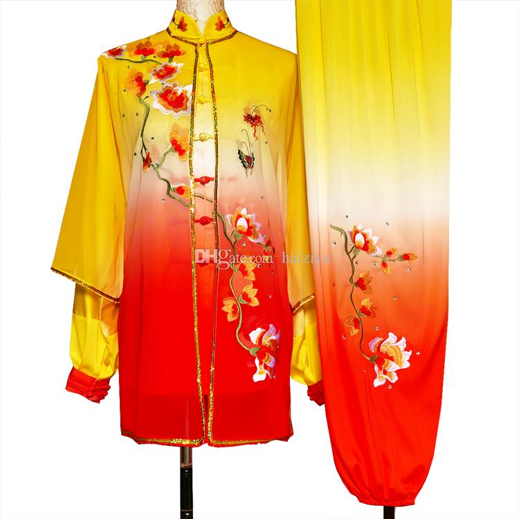 Chinese Tai chi clothes Kungfu uniform Taijiquan competition suit Qigong outfit Flower embroidery garment for women men girl boy adults kids