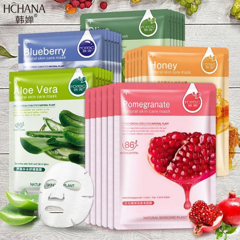 HanChan Plant Masque facial Soins de la peau Contrôle de l'huile hydratante Dissolvant comédons Masque enveloppé Masque facial Soins du visage
