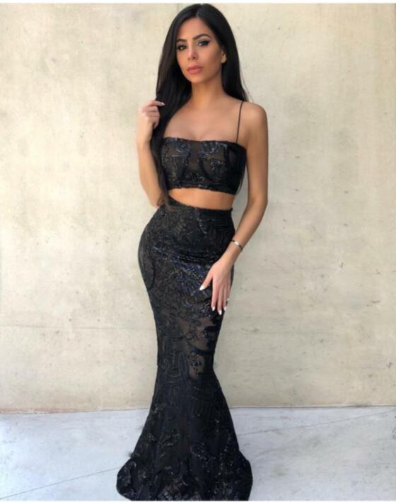 Missord 2019 женщины Сексуальная с плеча блесток Getrometry два шт комплект платья клуб Женский ретро элегантный макси платье FT18960