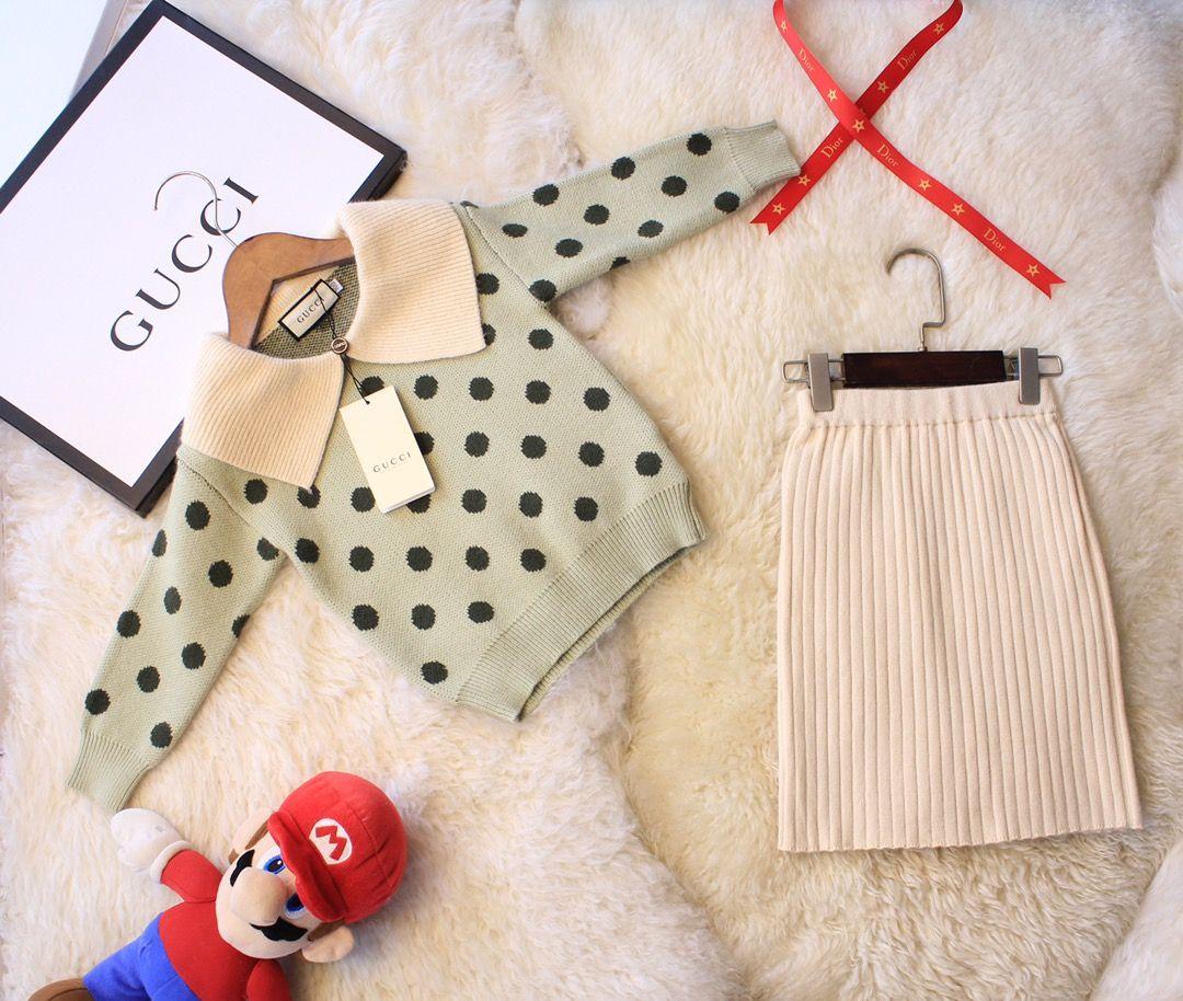 Girls skirt sets kids designer clothing polka dot lapel top + skirt 2pcs cashmere blend material autumn pullover sets
