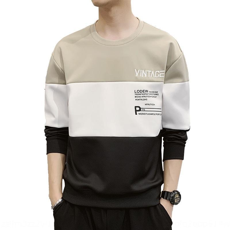 nXTDK W2011 2020 nuovi uomini a molla di modo abiti maglione casuale a maniche lunghe vestiti camicia base superiore interno maglione maglietta T-