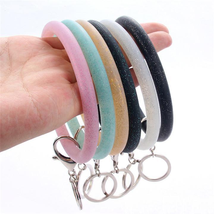 Silikon Handgelenk Key Ring Fashion Glitter Armband Sports Keychain Armband-Armband-Runde Schlüsselanhänger Große O Schlüsselanhänger Schmuck