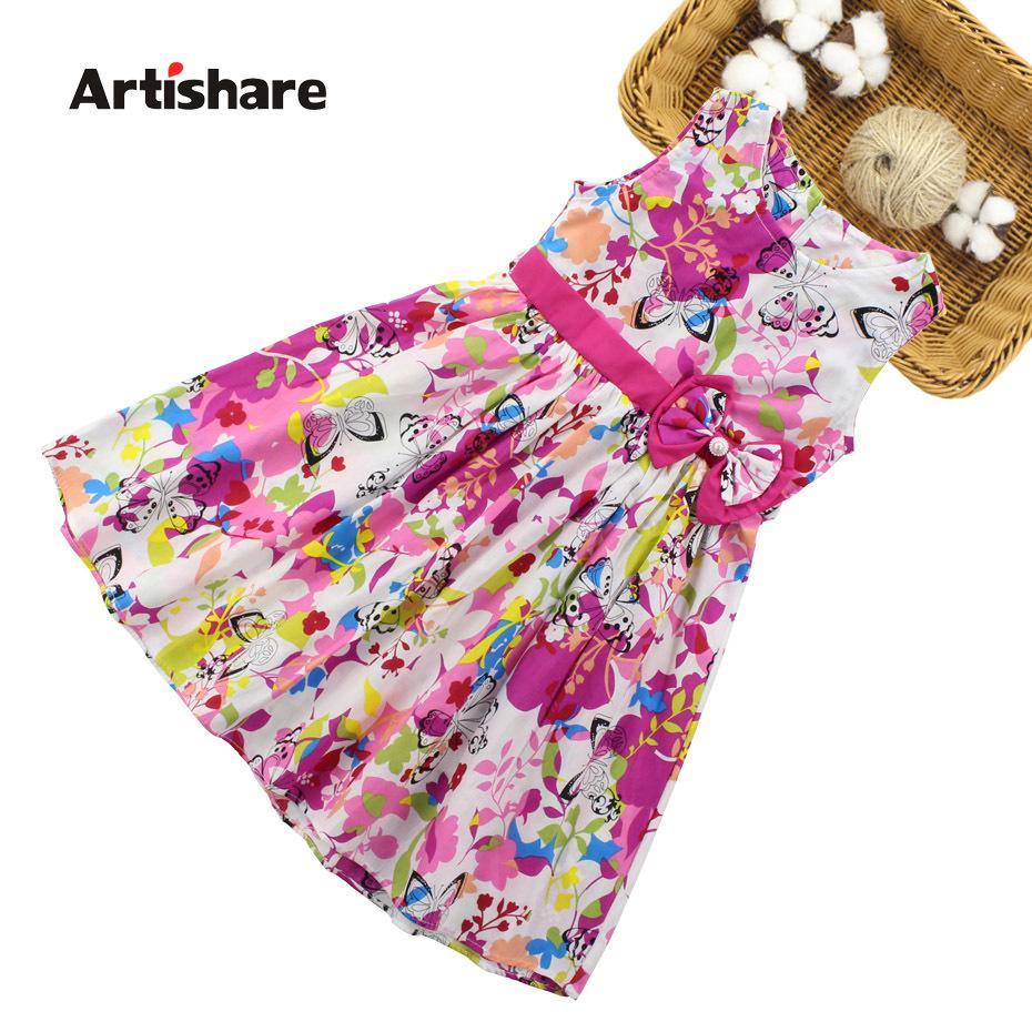 Girls Dresses Summer Children Floral Dress 4 6 8 10 12 13 Year Bow Sleeveless Kids Dress For Girls Butterfly Girls Clothes Q190522