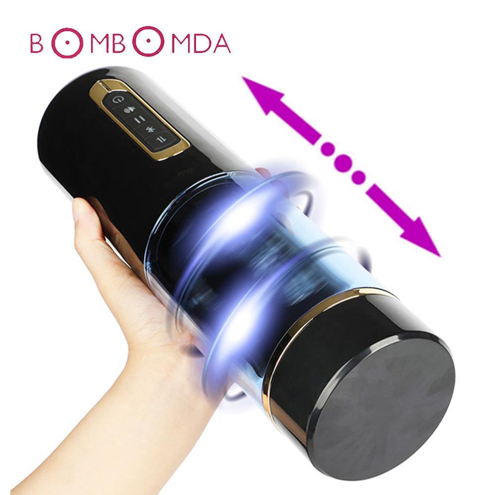 남자를위한 남성 리얼 Rotaion 질 음모 구강 빠는 성인 섹스 장난감을위한 자동 망원경 섹스 기계 자위 행위 컵 진동기