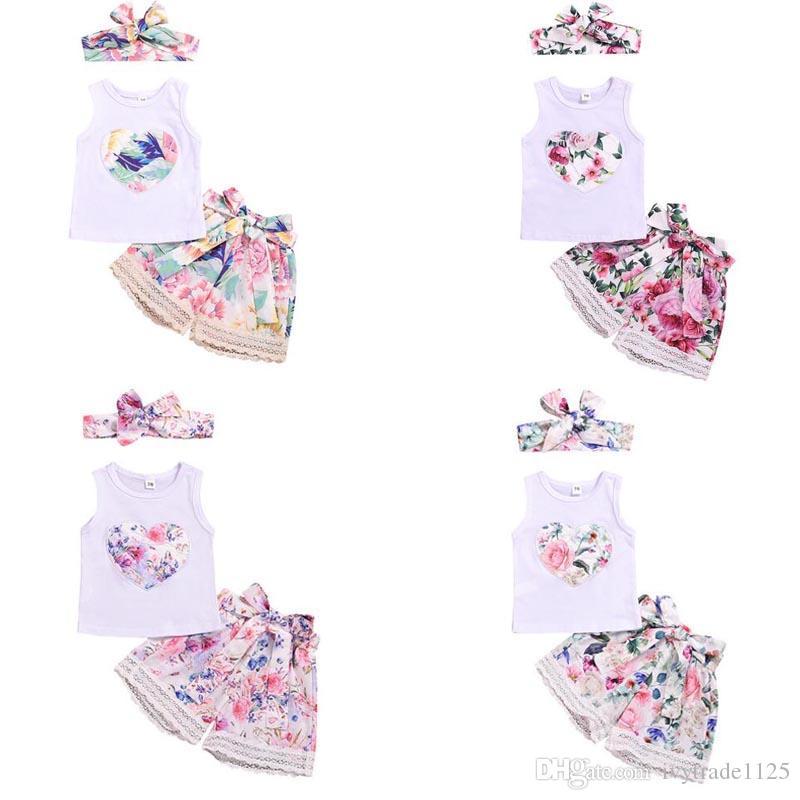 + Headband Baby Girl Clothing 3 Pieces sets Girl summer sets Love Flower print sleeveless Girl clothing sets