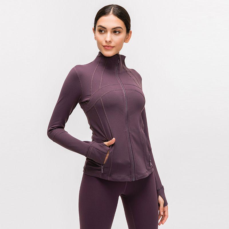 Спортивная одежда с длинным рукавом Дизайнер футболки Женщины Yoga тренажерном зале Компрессионные чулки и колготки для женщин для Фитнес Йога Обучение Zipper Jacket