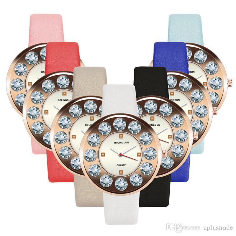 2019 Big Diamond Crystal Simple Fashion Women Ladies Leather Watches Wholesale lady casual leisure dress quartz wrist watches