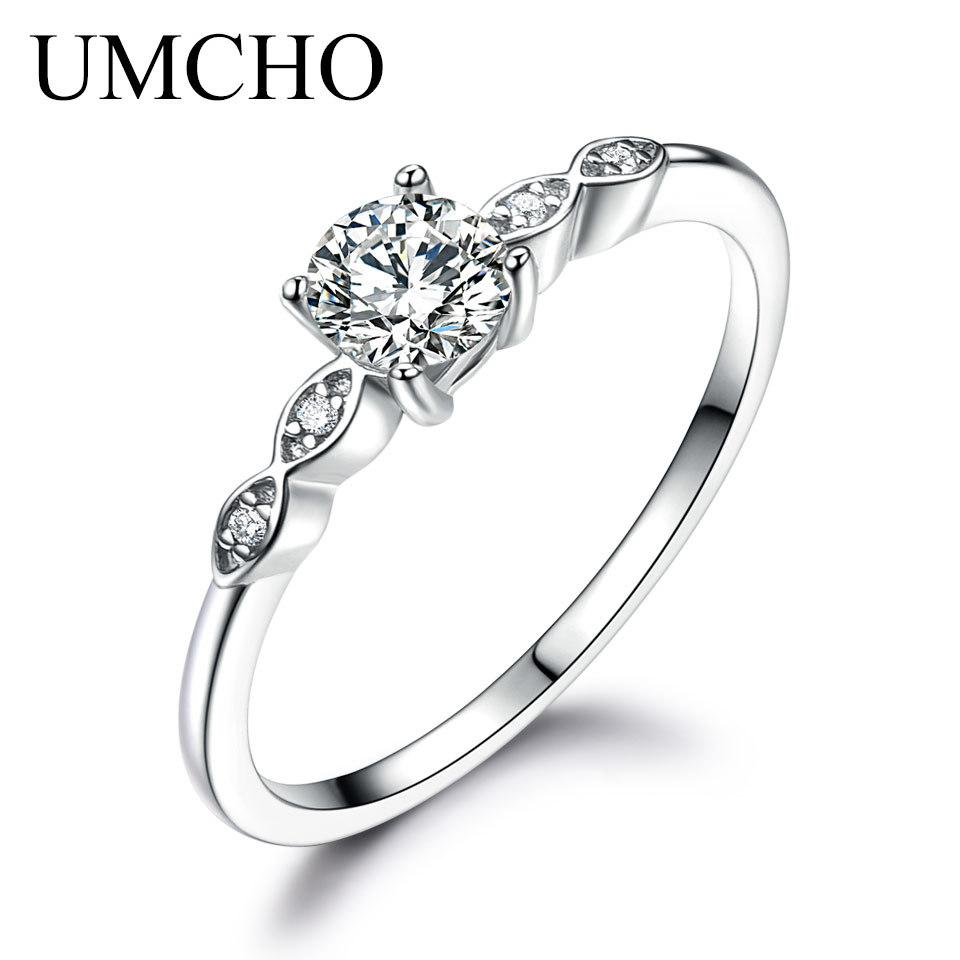UMCHO Gümüş 925 Takı Lüks Kadınlar Solitaire Nişan Düğün Band Parti Hediye Takı Yeni için Gelin Taşlı Yüzük