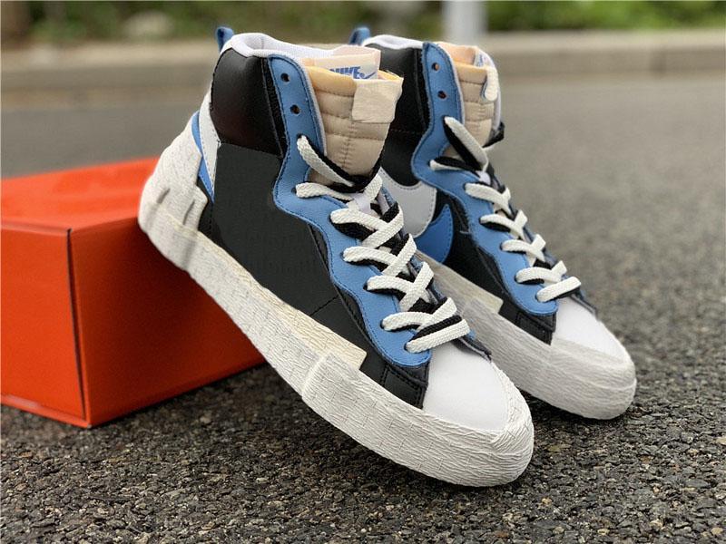 2019 новейший аутентичный Sacai x Mid Blazer черный университет синий-парус-белый мужская баскетбольная обувь спортивные кроссовки BV0072-001 BV0072-700